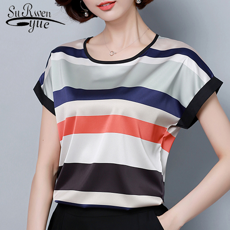 Fashion women tops and   blouses   2019 harajuku plus size ladies tops stripe chiffon   blouse     shirt   blusas femininas   blouses   0451 30