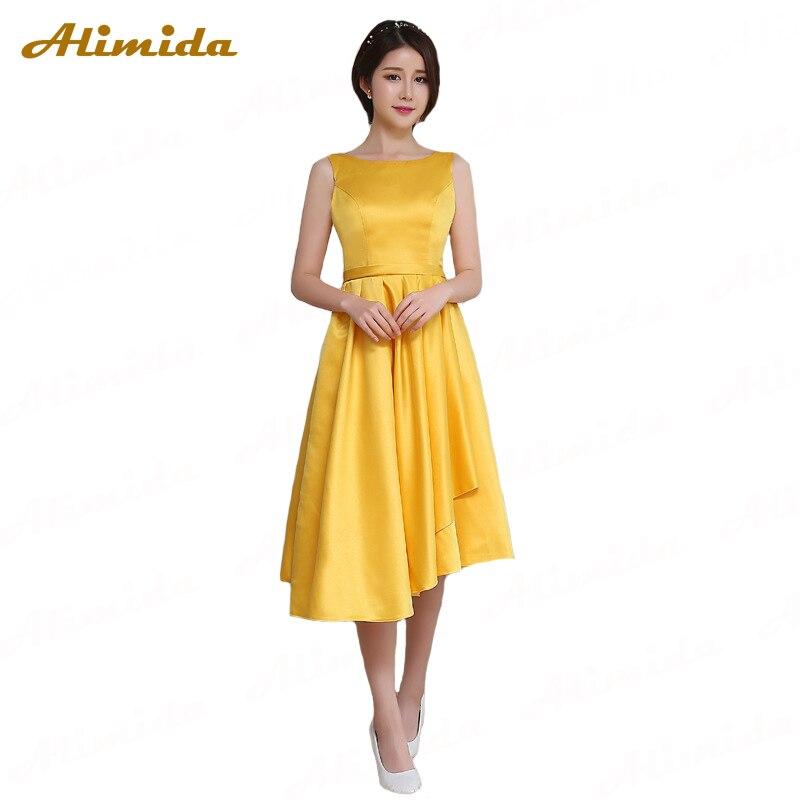 ALIMIDA Short Evening Dress 2017 Yellow Satin Wedding Party Dress O-Neck Prom Dress with Sashes vestido de festa