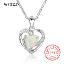 High Quality 100% S925 Sterling Silver Luxury Heart Shape Fashion Opal Pendant Necklace Jewelry Wedding Birthday Gifts For Wife