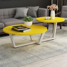 Nordic Modern simple Fashion Table Foyer Creative Round shape Soild wood black white yellow combo Double desktop Deco Bar Desk