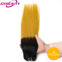 Addbeauty Straight Brazilian Virgin Hair Products Selected Raw Materials Human Hair Weave Bundles T1 Yellow Color