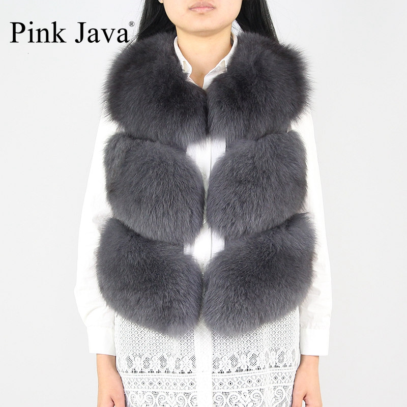 PinkJava 8001 Women Coat New Full Pelt Real Fox Fur Vest Fashionable Genuine Leather Gilet Wholesale Waistcoat Solid