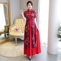 Vietnamese fashion elegance 2 piece Ao Dai Dress red printing improved Suzhou cheongsam modern short sleeve Vietnam AoDai Robe