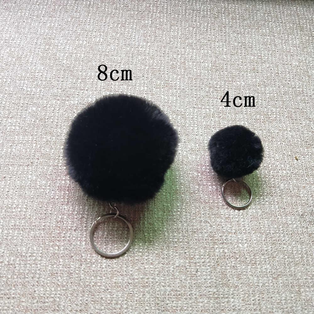 27 Cores 8 cm Big Faux Fur Pompom Keychian Chaveiro de Prata Bonito Charme Saco Chave do carro Cadeia Llaveros Fofo Alta Qualidade Pom pom