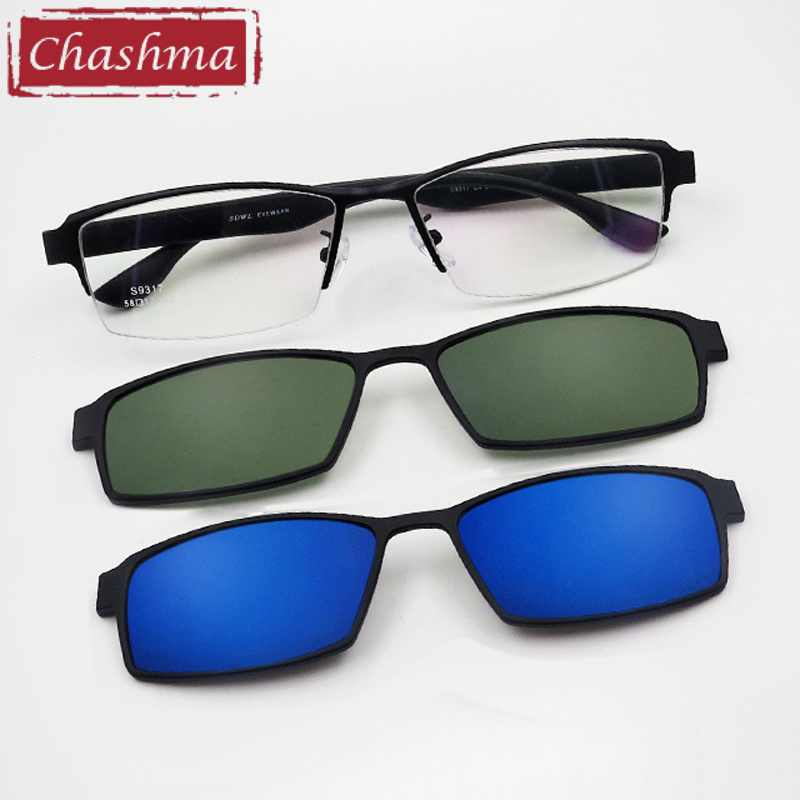 Chashma Prescription Glasses Frame Men Sunglasses Clips Lenses Magnet Eyewear For Recipe Half Frame 2 Clips Spectacles
