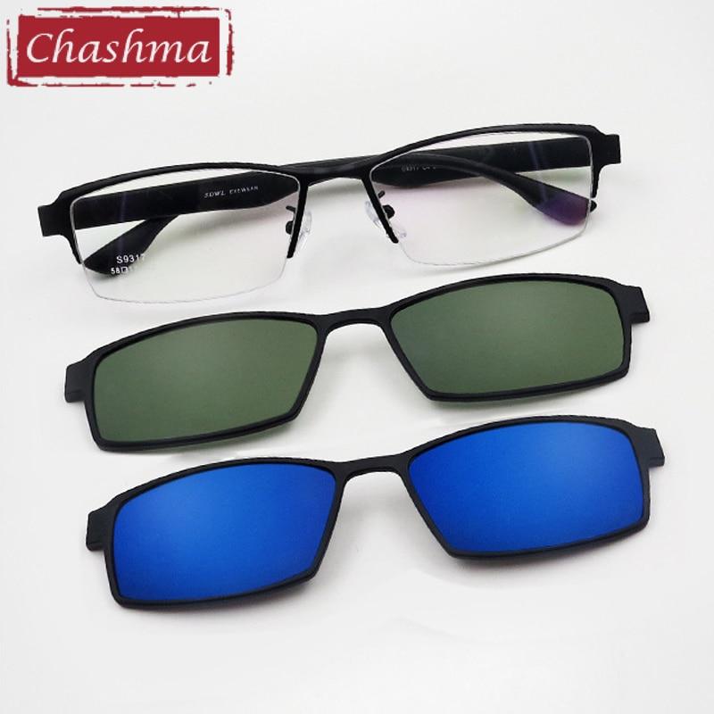 Chashma Prescription Glasses Frame Men Sunglasses Clips Lenses Magnet Eyewear for Recipe Half Frame 2 Clips Spectacles