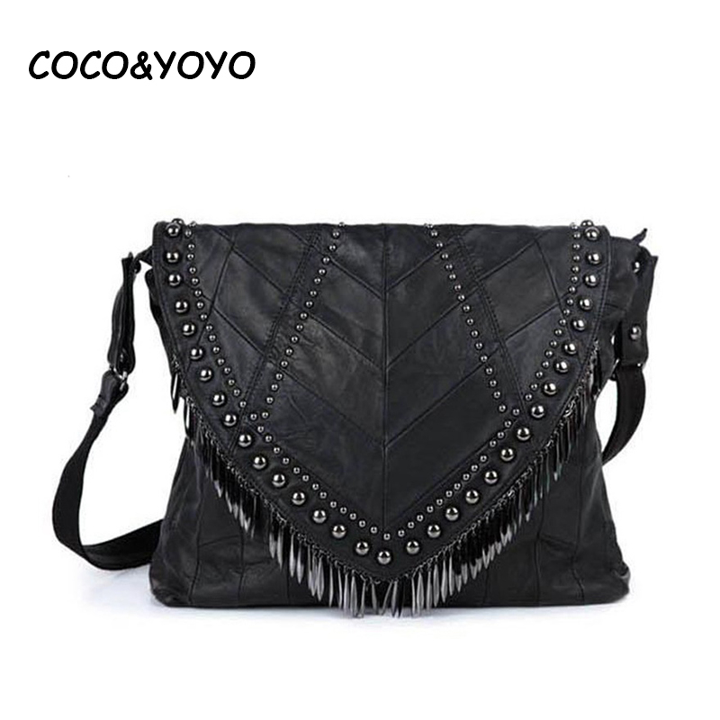 ФОТО Hot 2016 New Arrival Fashion Black 100% Genuine Leather Women Shoulder Bag Sheepskin Handbags with Rivet Tassel Messenger Bags