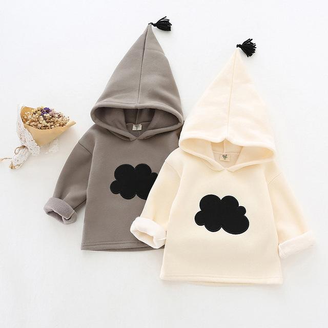 Meninas do bebê Padrão de Nuvens Camisolas 2016 Outono Inverno Nova Marca de Moda Crianças Roupas Grossas T-Shirt Casuall Fleece Menina