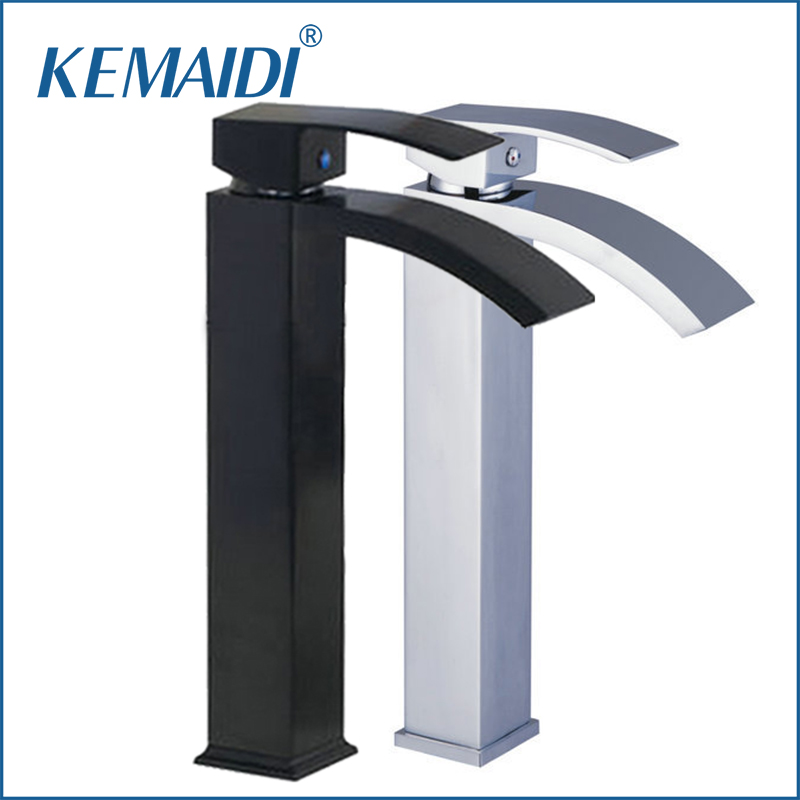 KEMAIDI Bathroom Sink Vessel Faucet Oil Rubbed Bronze &Chrome Waterfall Basin Tap Single Handle Sink Faucets Mixers Taps automatic touchless sensor waterfall bathroom sink vessel faucet oil rubbed bronze