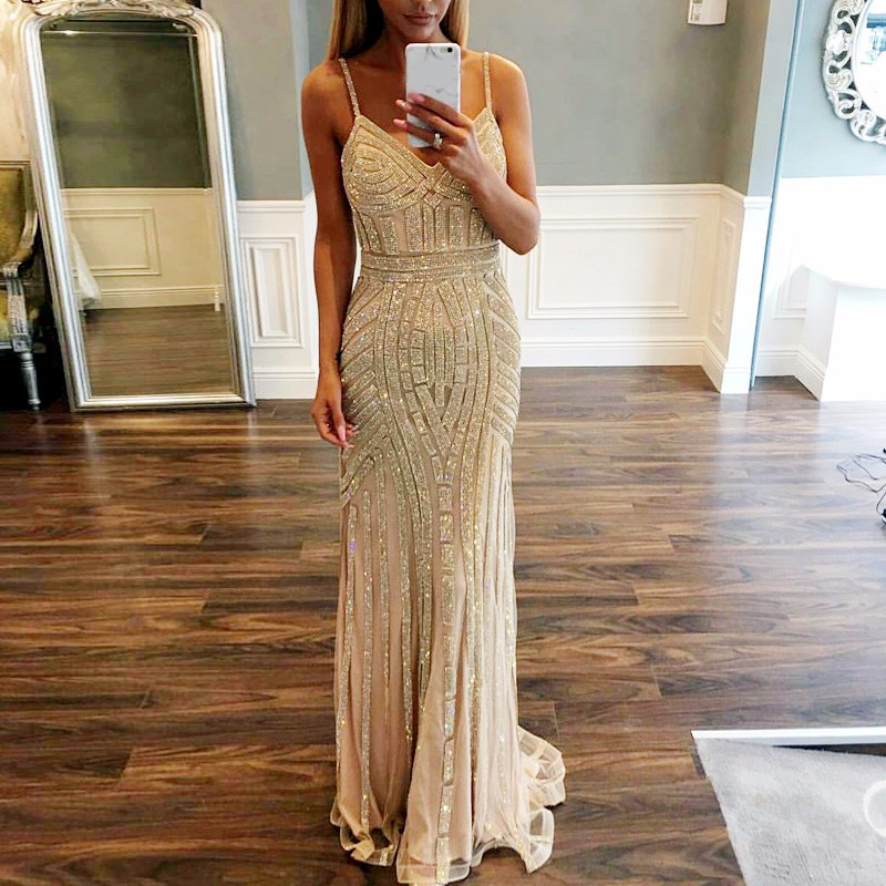 Sexy Spaghetti Straps Bling Crystal Beading Evening Prom Gowns Floor Length Wedding Party Dress