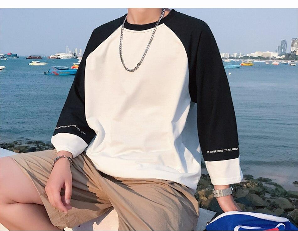 03c2848cb8c 2018 Mens Oversized Casual Tshirt Three Quarter Raglan Sleeves T-shirts  Korean Male Baggy Tshirt Summer Tees