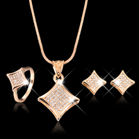 2015 Hot Sale Girl Banquet Crystal Golden Chain Necklace Square Earrings Ring Jewelry Set Gift