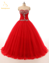 Bealegantom Red Quinceanera Dresses Ball Gown 2017 With Beaded Crystal Lace Up Sweet 15 16 Dresses Vestidos De 15 Anos QA1085