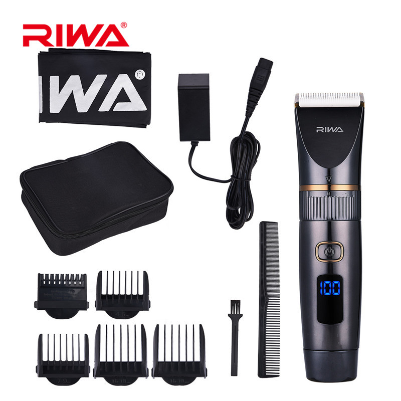 RIWA Rechargeable Hair Trimmer Titanium Ceramic Blade Razor Clipper Beard Trimmer Shaver Electric Haircutting Barbe LED Display original riwa x7 fast charge electric washable hair clipper professsional rechargeable hair trimmer with titanium ceramic blade