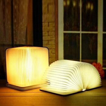 חדש Creative עץ מתקפל דפים ספר אור Led ספר צורת תאורת מנורת הלילה נייד אור USB נטענת מנורת שולחן