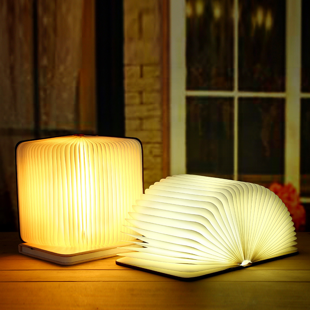 New Creative Wood Foldable Pages Book Light Led Book Shape Lighting Lamp Portable Night Light USB Rechargeable Table Lamp led foldable panda book table lamp colorful light portable booklight usb rechargeable night light for holiday gifts