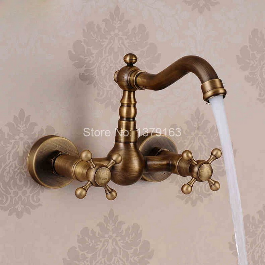 Antique Brass Wall Mounted Dual Cross Handles Swivel Kitchen Bathroom Sink Basin Faucet Mixer Tap anf264 antique brass dual cross handles swivel kitchen bathroom sink basin faucet mixer taps anf003