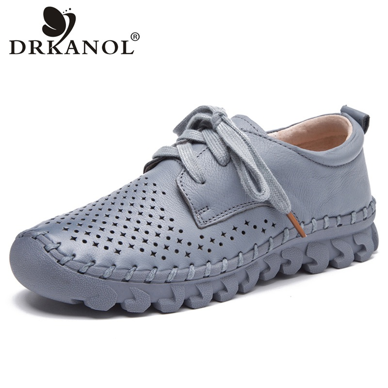 DRKANOL New Design Breathable Women Flat Shoes Comfortable Lace Up Genuine Leather Women Casual Shoes Handmade Vintage Flats ege brand handmade genuine leather spring shoes lace up breathable men casual shoes new fashion designer red flat male shoes