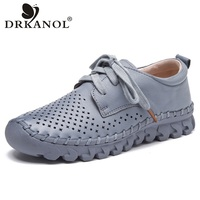 DRKANOL New Design Breathable Women Flat Shoes Comfortable Lace Up Genuine Leather Women Casual Shoes Handmade
