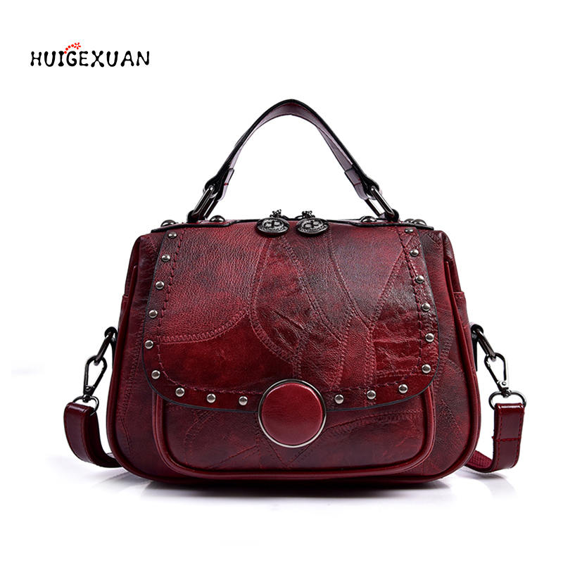 New Fashion Leather Women's Handbag Office Ladies Shoulder Sling Bags Handmade Sheepskin Leather Messenger Satchel Bags Rivet