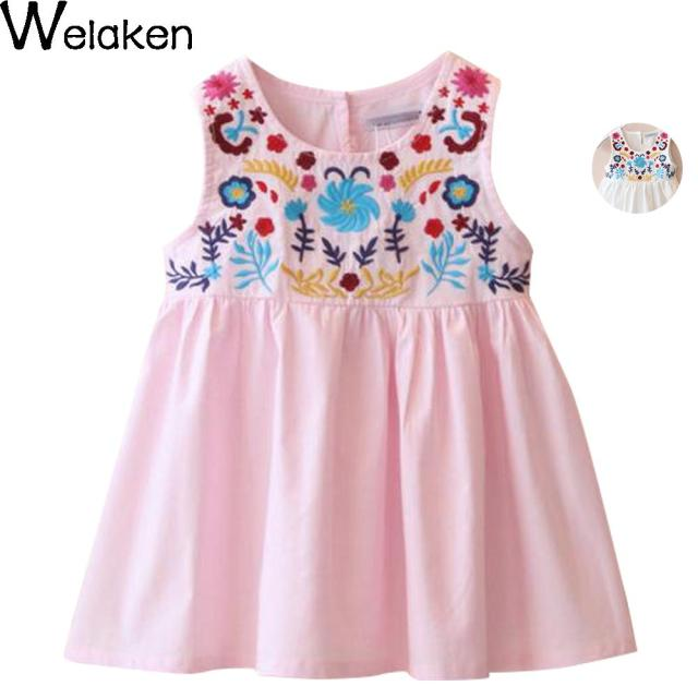 0b1f2f49225d 2016 Summer For Girls Dress Baby   Kids Cotton White Pink Embroidery Dress  Princess Baby Girl Sleeveless Flower Dress