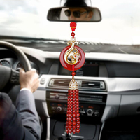 Car Pendant Red Agate Creative Hanging Suspension Dangle Ornaments Safety Character Automobiles Accessories For Rear View Mirror