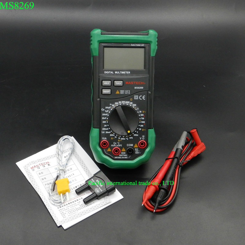 Digital Multimeter 3 1/2 LCR Meter AC/DC Voltage Current Resistance Capacitance Temperature Inductance Tester Mastech MS8269 mastech ms8226 auto range digital multimeter ac dc voltage current resistance capacitance freqency temperature data hold rs232c
