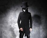 Осенне зимняя обувь новая мужская характер черный длинная стильная шерстяная ткань пальто Модные и несимметричные плащ. S 5XL!