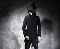 Осенняя и зимняя новая мужская черная длинная стильная шерстяная ткань пальто модный и несимметричный плащ. S 5XL!