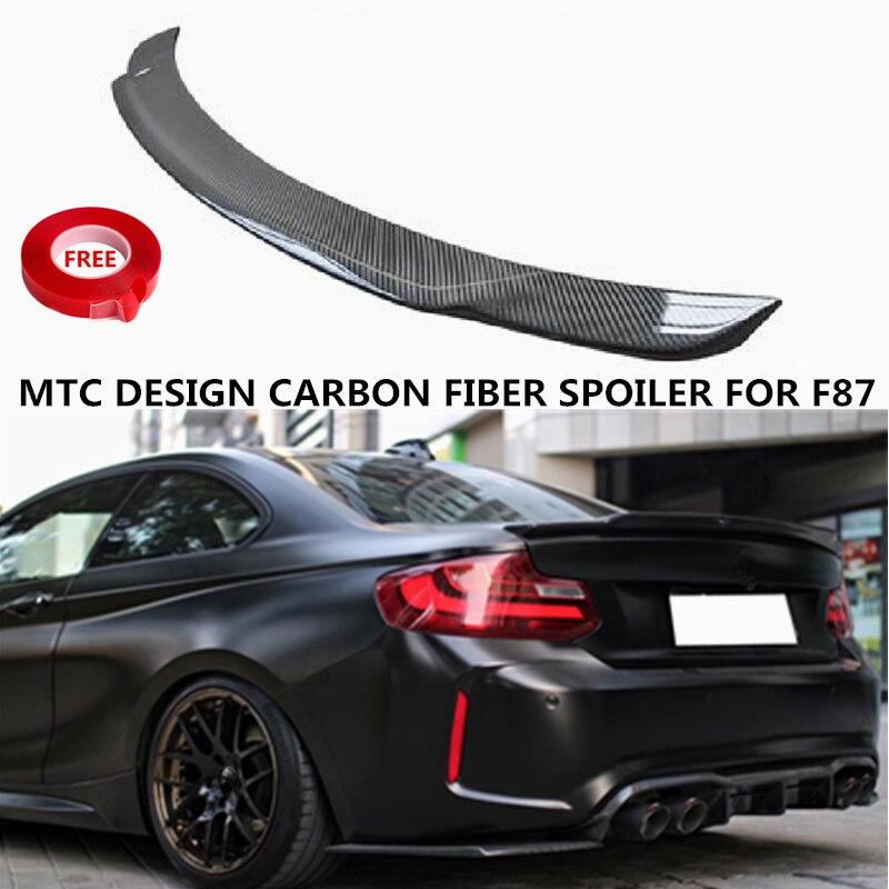 Becquet MTC Design 3 K en Fiber de carbone pour BMW F87 M2 coupé 2DR pièces de réglage répartiteur de coffre arrière 2015 2016 2017 2018