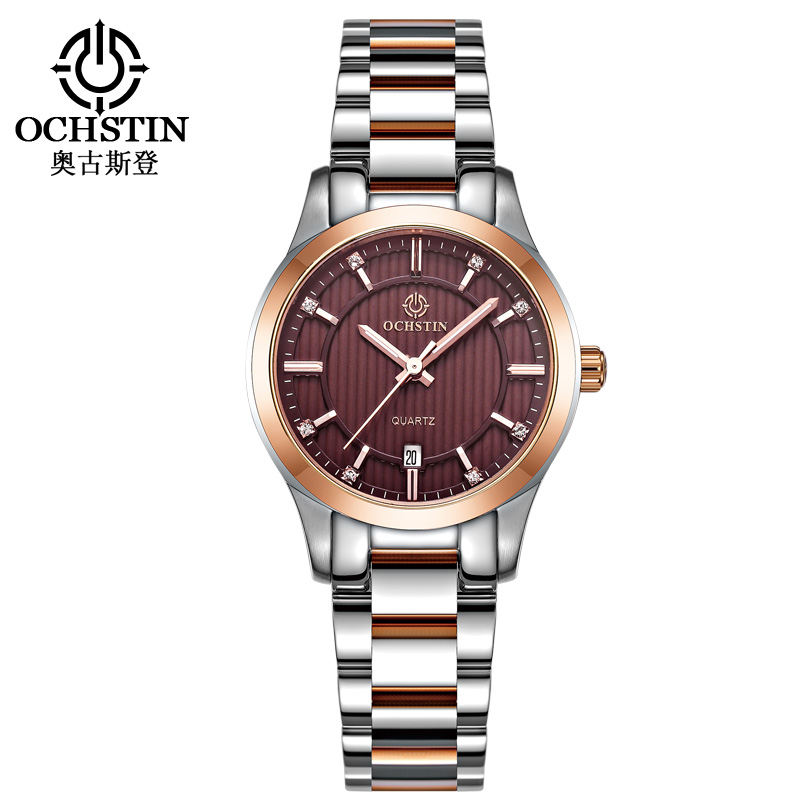 OCHSTIN Women Stainless Steel Quartz Watches Auto Date Fashion Casual Wrist Watch Lady Simple Femme Wristwatch Montres LQ016B a059 abs household resin thermometer hygrometer white