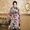 (LordFur) Ladies' Real Pig Leather Coat Jacket Slim Belt Fox Fur Collar Winter Women Fur Warm Outerwear Coats Plus Size VK1044