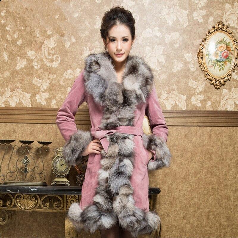 Topfurmall Ladies Real Pig Leather Coat Jacket Slim Belt