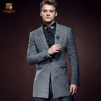 Free Shipping New fashion casual male Winter Men's man winter Medium long slim woolen warm thickening coat 610122 fanzhuan