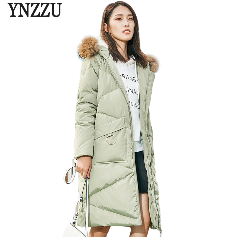 YNZZU 2018 Winter Collection Women's   Down   Jacket Casual Long Thick Warm with Real Fur Collar Hooded White Duck   Down     Coats   O593