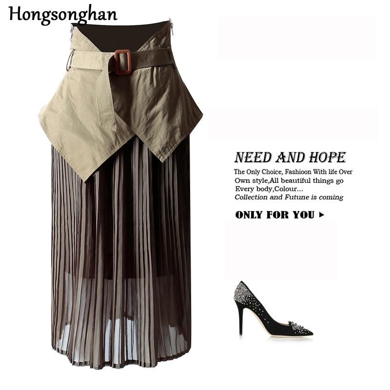Hongsonghan femme élastique cachetage corset femal plissé jupes femmes taille designer façonnage ceinture large élastique épissure jupe