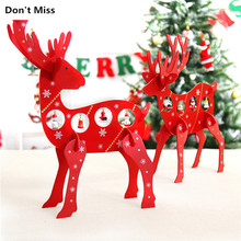 Home Office Kindergarten Christmas Table Decorations Wooden DIY Elk Ornaments New Year Xmas Birthday Festival Gifts Wood Toys