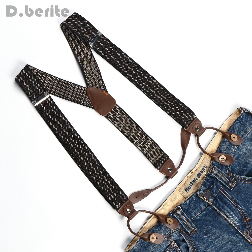 Men's Adjustable Buttons Braces Elastic Suspenders Unisex Striped Plaid Floral Braces 3.5cm Width BD766