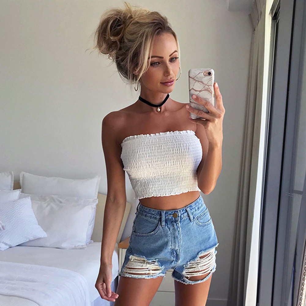 Elastic Tops Wrap-Top Top-Poleras Ruched White Women Short Boob-Bandeau Strapless Sexy