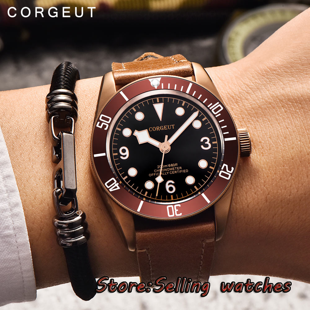 41mm CORGUET coffee sterile dial coffee case Sapphire Glass miyota automatic mens Watch цена и фото