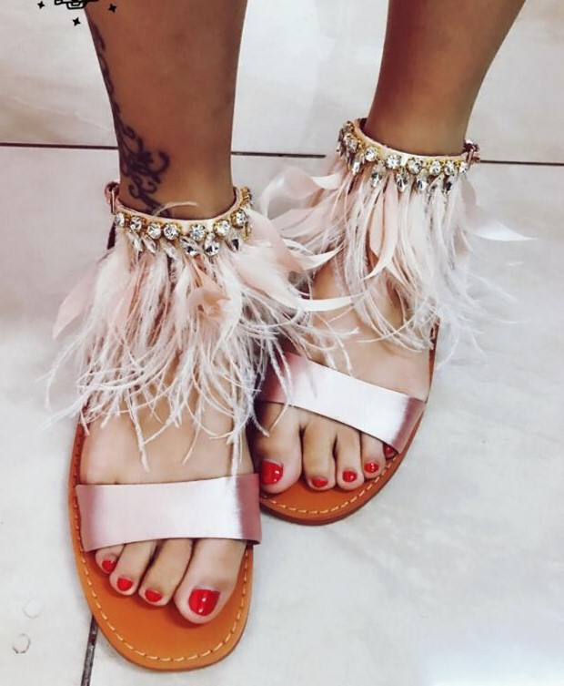 Summer New Fashion Pink Feather Women Flat Sandals Elegant Pink Satin Ladies Ankle Buckle Sandals Rhinestone Sandals women sandals 2016 fashion new flat women sandals rhinestone ladies shoes