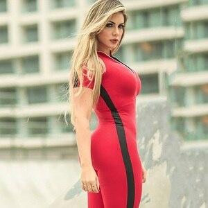 Image 4 - Chándal de manga corta con cremallera para mujer, ropa deportiva, ropa de entrenamiento, conjunto deportivo sin costuras, conjunto de Yoga elástico