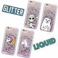 Glitter Liquid Unicorn Donuts Cat Alien Cartoon funda dura funda Capa Para iPhone 7 7 Plus 6 6 s 5 SE 8 8 Plus X XS Max