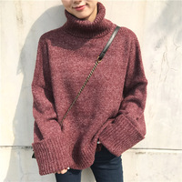 New Women S Winter Turtleneck Thicken Knitted Sweater Female Casual All Match Long Sleeve Loose Pullovers