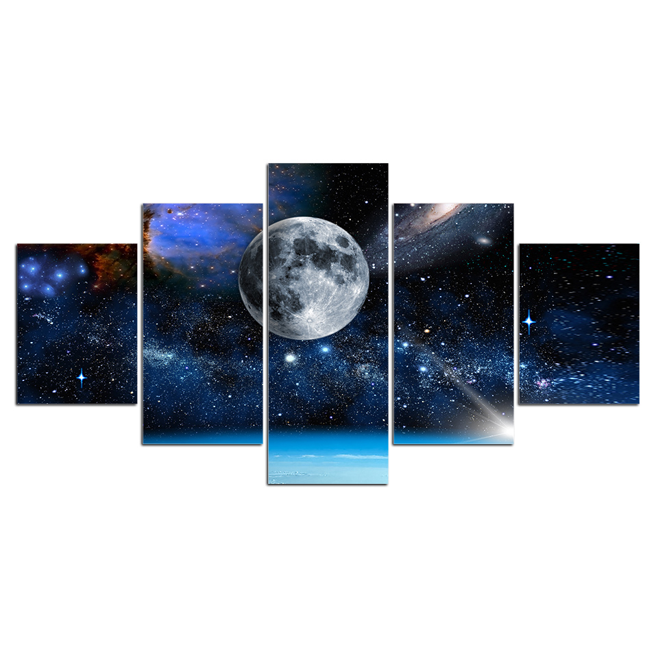 HD Printed 5 Piece Canvas Art Blue Space Starry Sky Painting Universe Wall Pictures for Living Room decoration Pictures Prints 1