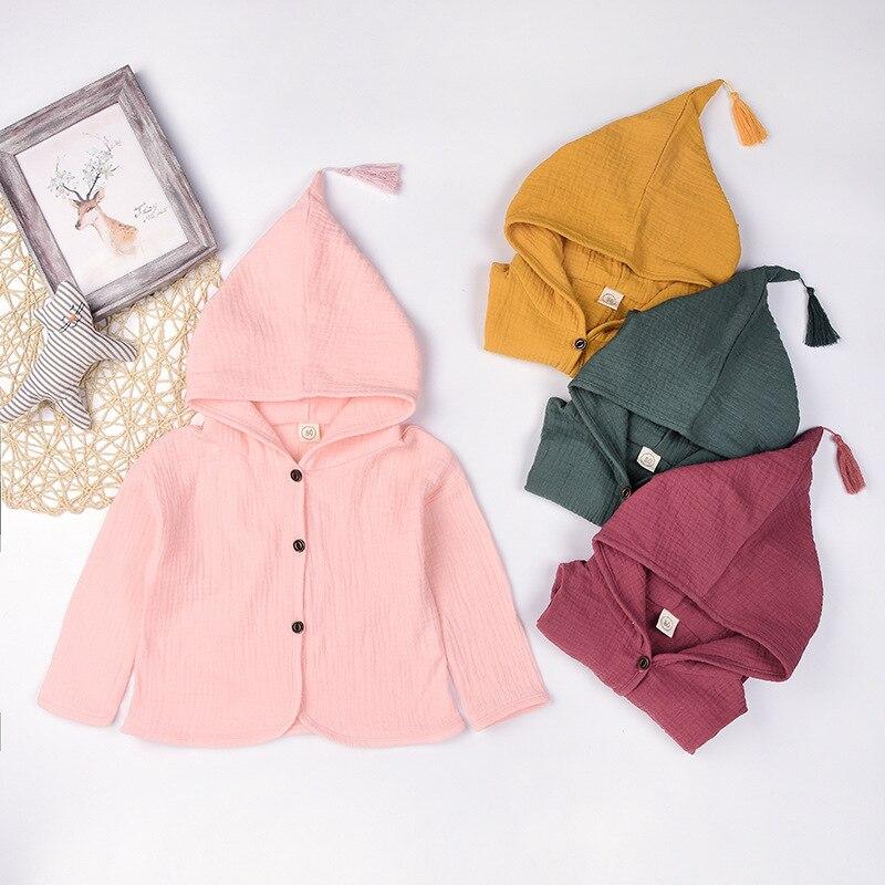 Весенне-осенняя одежда для детей пальто-кардиган, От 1 до 5 лет Одежда для маленьких мальчиков и девочек свитера, Мягкий хлопок с капюшоном Де...
