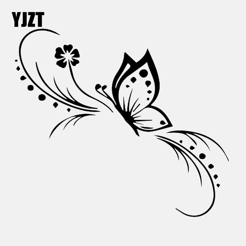 YJZT 13.6CM*11.9CM Butterfly Flower Car Sticker Decoration Floral Art Vinyl Decal Black/Silver C24-0249