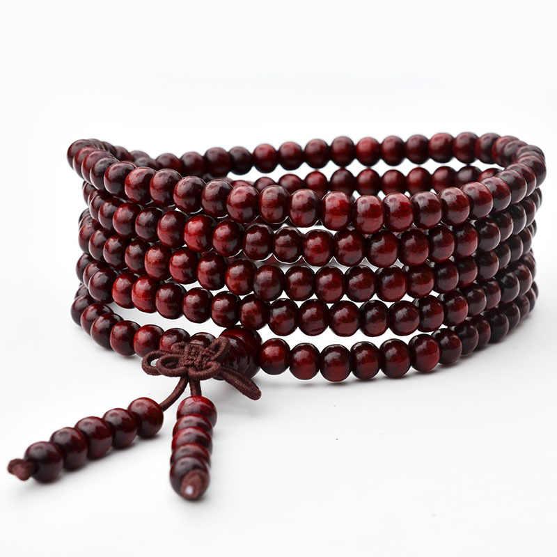 Классический Браслет из сандалового дерева для женщин и мужчин, многослойный браслет Будды, ювелирные изделия для медитации, браслеты дружбы