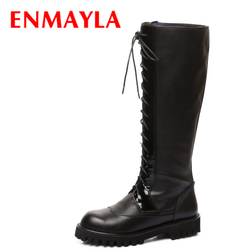 ENMAYLA Flats Lace-up Knight Boots for Women Black Round Toe Platfrom Knee Boots Shoes Woman Western Long Boots enmayla winter autumn round toe low heel knee high boots women flats lace up shoes woman rider brown black suede motorcycle boot