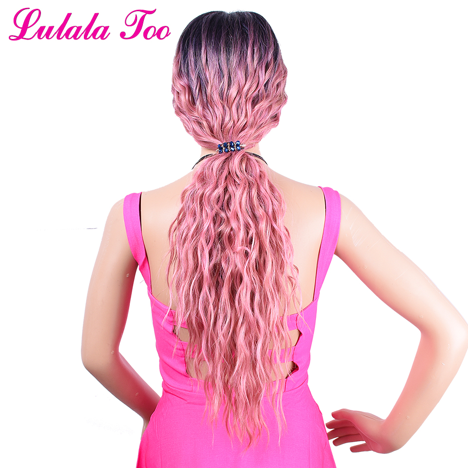 Pink Synthetic Lace Front Wig For Women 30inch Long Wavy Curly Pastel Ombre Dark Root Rose Gold Haif Hand Tied Fashion